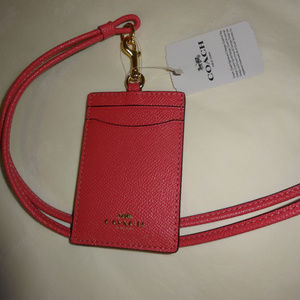 Coach Xgrain Leather Lanyard - Pink Ruby NWT